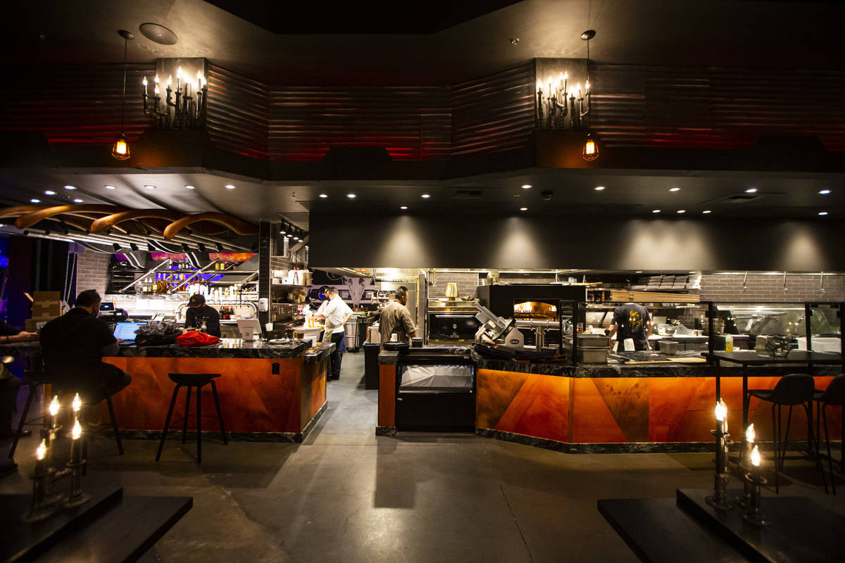 An interior view of Chef Todd English's new restaurant, The Beast, at Area15 in Las Vegas on Th ...