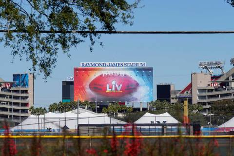 Raymond James Stadium, the site of NFL football Super Bowl LV, is shown Thursday, Jan. 28, 2021 ...
