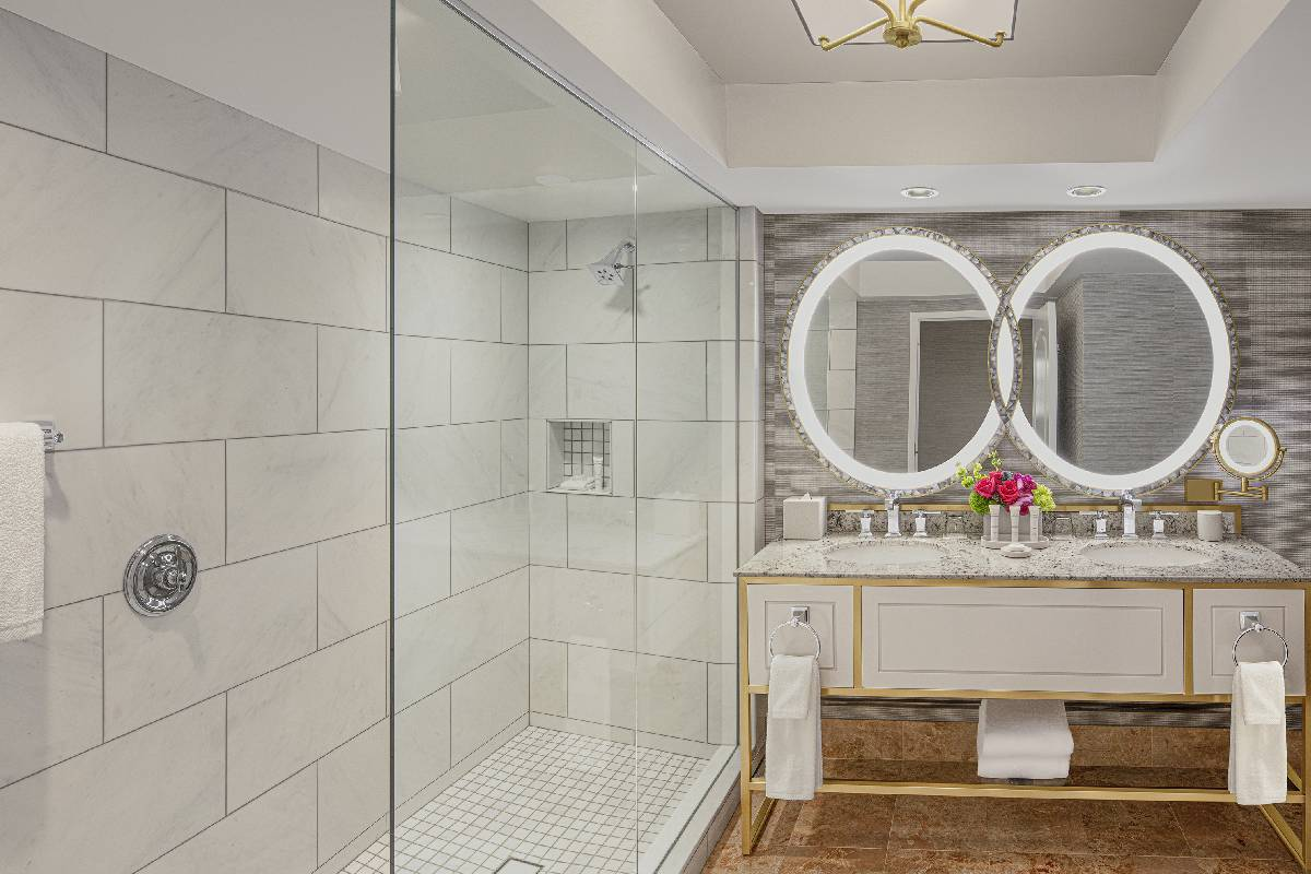 A renovated bathroom at Bellagio. (Courtesy, MGM Resorts International)
