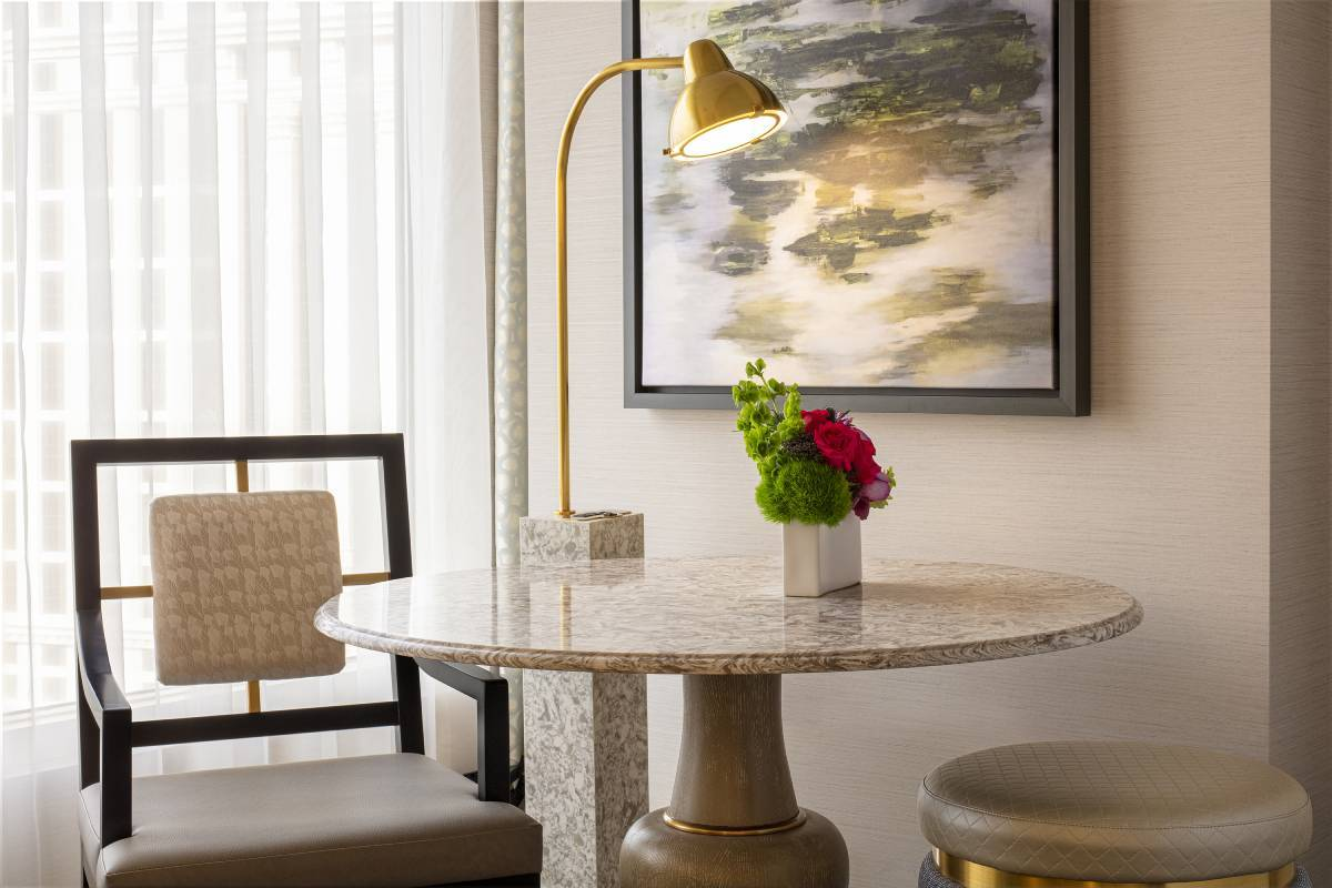 Image of furniture inside a remodeled Bellagio guest room. (Courtesy, MGM Resorts International)