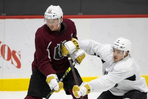 The Henderson Silver Knights Patrick Brown, left, and Jimmy Schuldt during a team practice at L ...