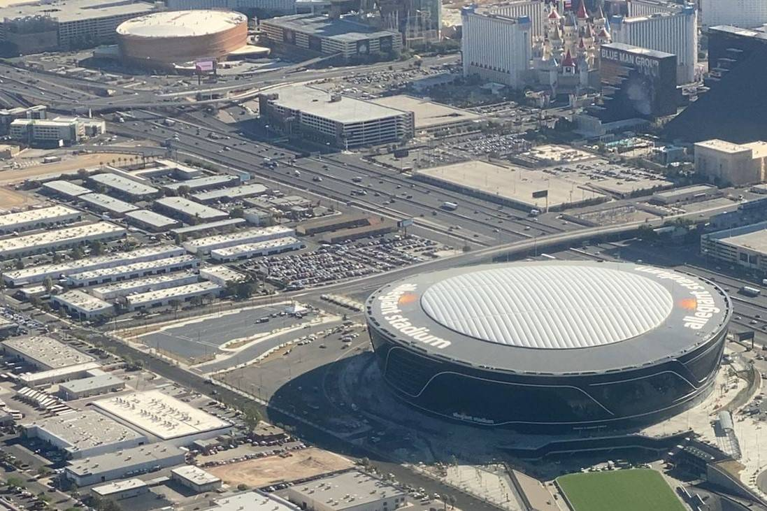 Allegiant Stadium with Interstate 15 and the Tropicana Avenue interchange in the distance on Ju ...