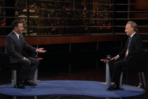 """Jimmy Kimmel and Bill Maher are shown in screen catch during the broadcast of HBO's """"Real Time ..."""