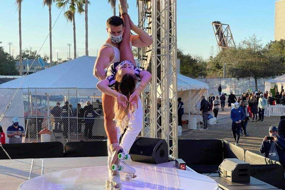 Victor and Jenny Arata of the Skating Aratas perform at the NFL Experience at Raymond James Sta ...