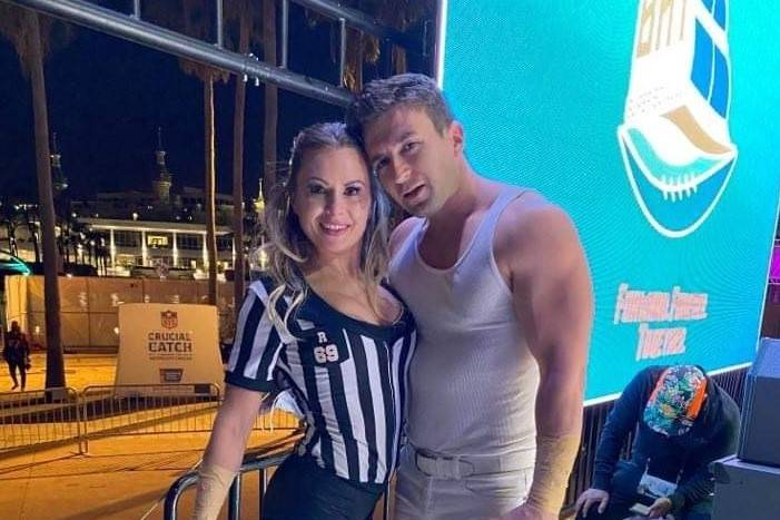 Victor and Jenny Arata of the Skating Aratas are seen at the NFL Experience at Raymond James St ...