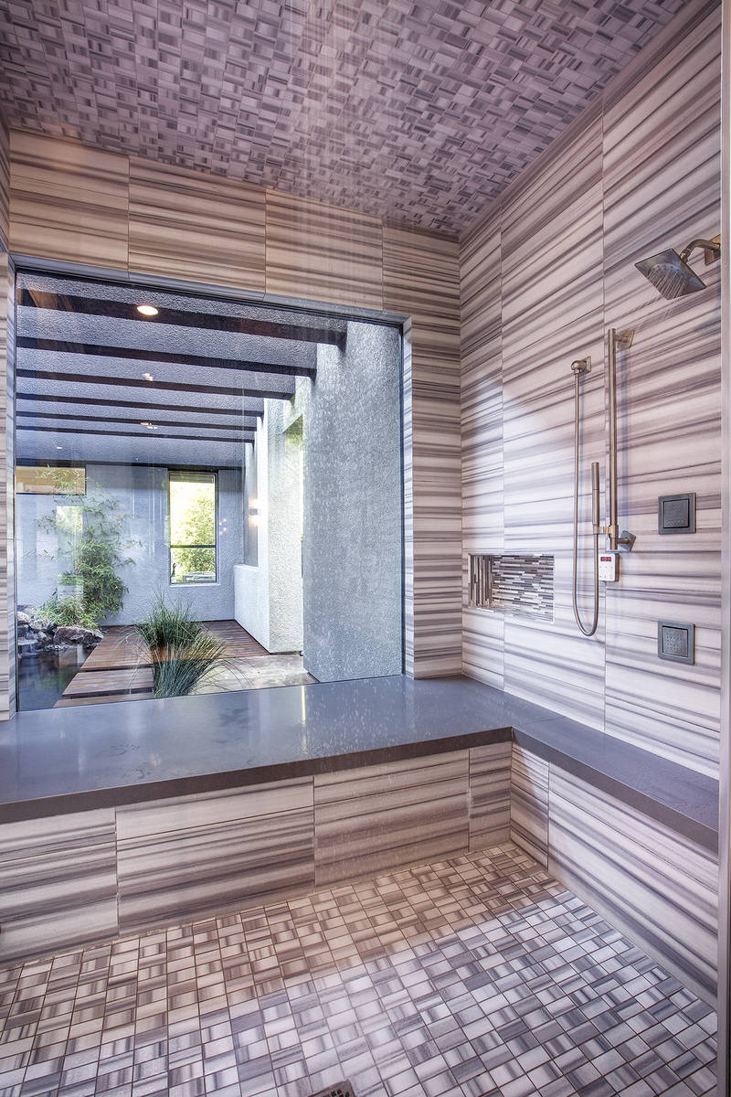 This Zen-style shower is an example of an ongoing trend in Las Vegas luxury homes, according to ...