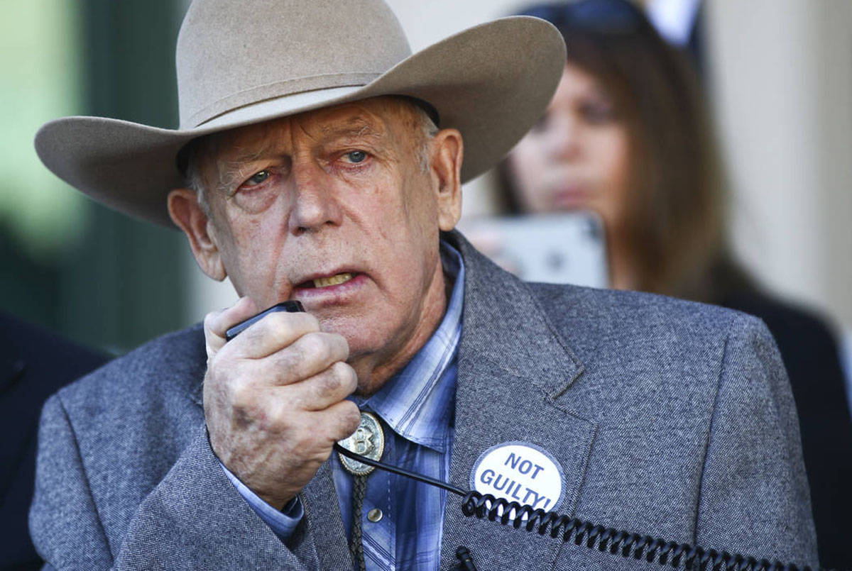 Rancher Cliven Bundy address supporters and journalists at Metropolitan Police Department headq ...