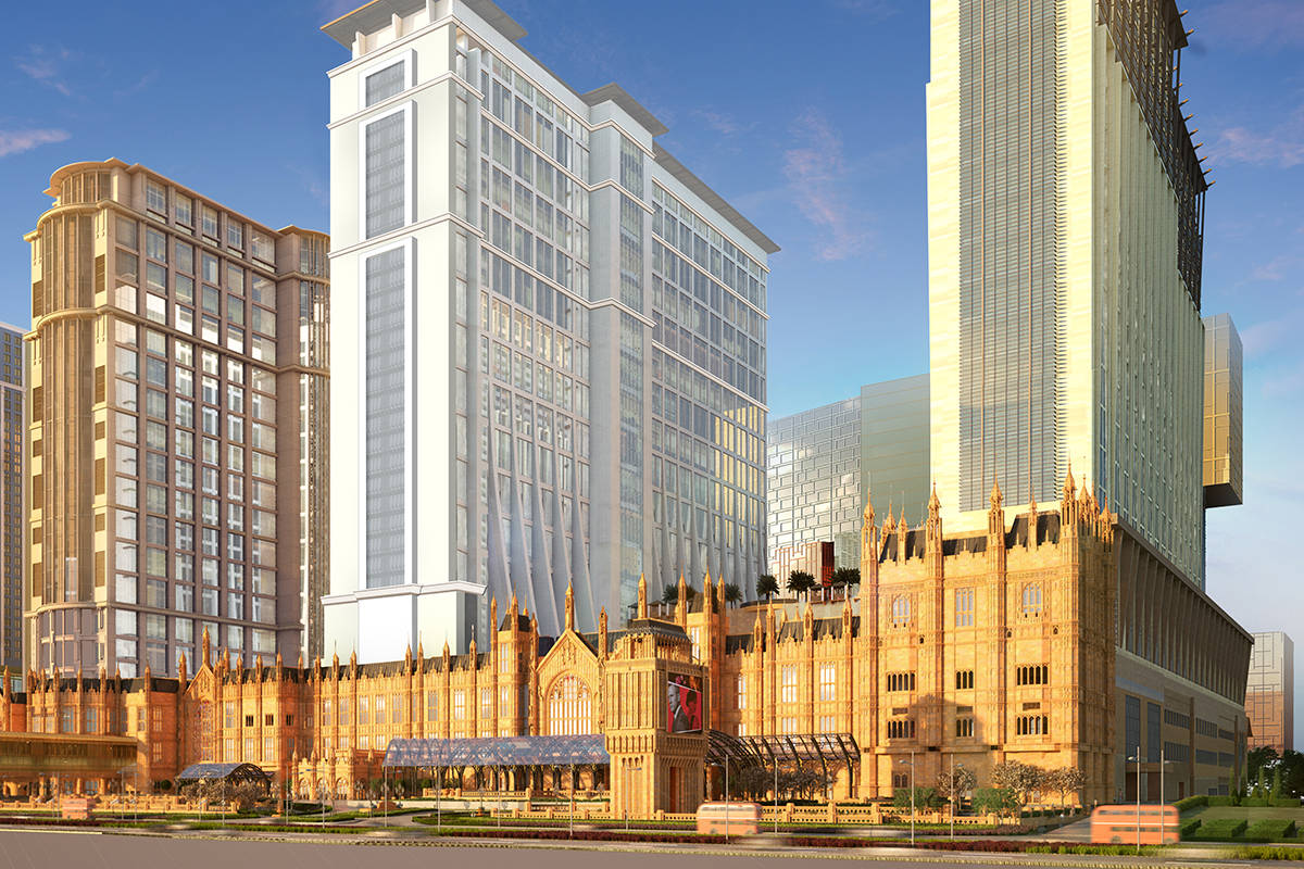 A rendering of the exterior of the Londoner, the Las Vegas Sands Corp.'s London-themed resort o ...