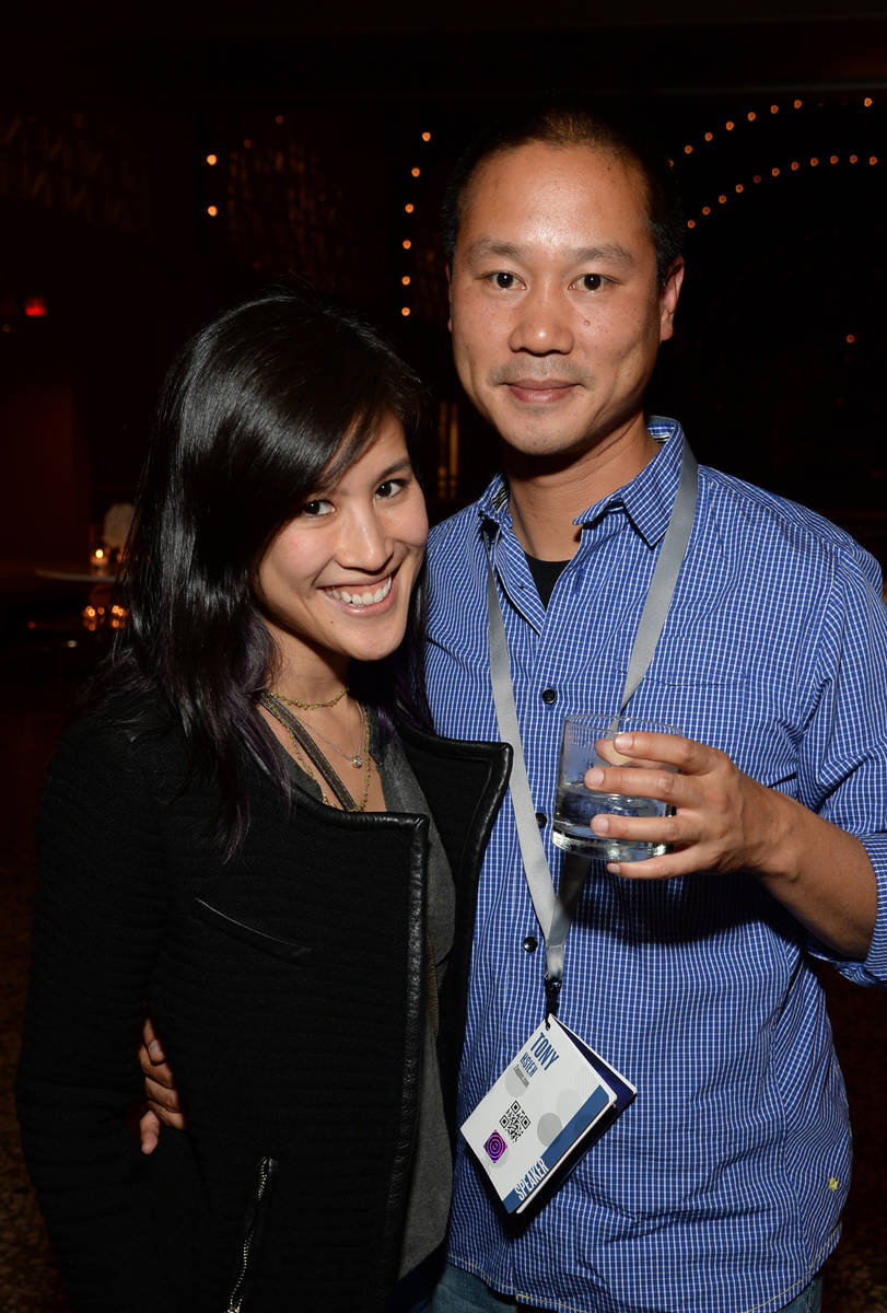 Mimi Pham and Zappos.com CEO Tony Hsieh attend the Vanity Fair New Establishment Summit Cockati ...