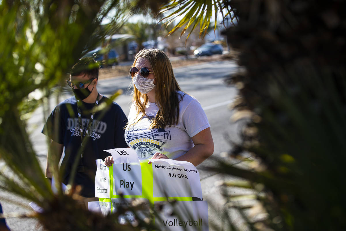 Shadow Ridge High School student athlete Holly Soncini participates in a rally to urge school d ...
