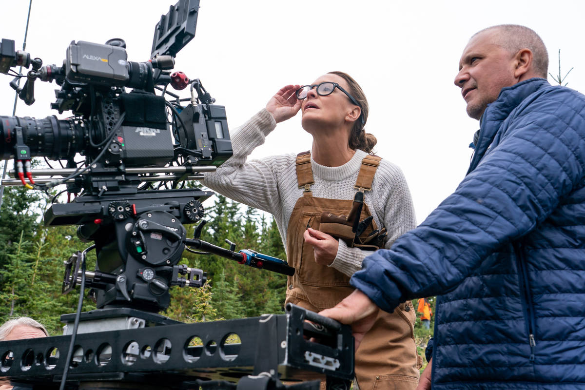 """Director and actor Robin Wright with director of photography Bobby Bukowski on the set of """"Land ..."""