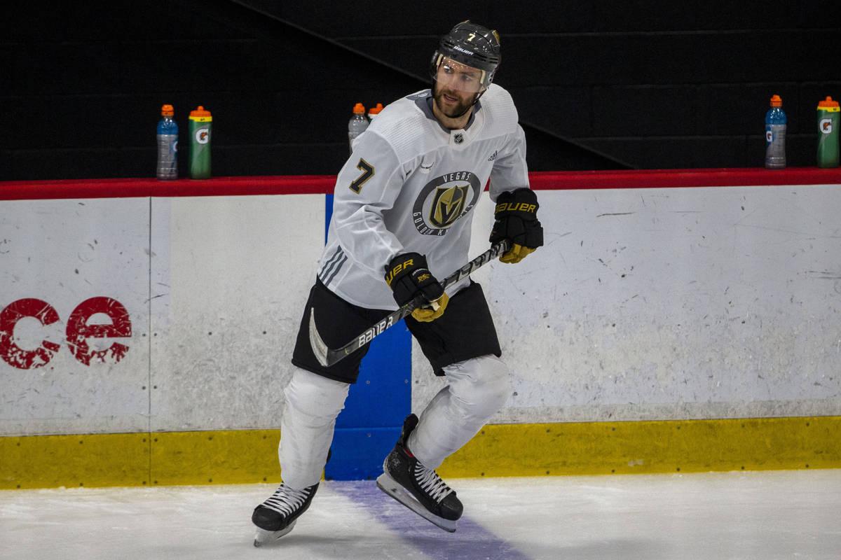 Golden Knights defenseman Alex Pietrangelo (7) skates during training camp on Wednesday, Jan. 6 ...