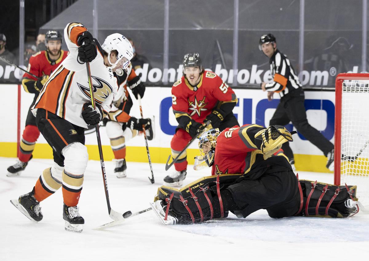 Vegas Golden Knights goaltender Marc-Andre Fleury (29) makes a save against Anaheim Ducks cente ...