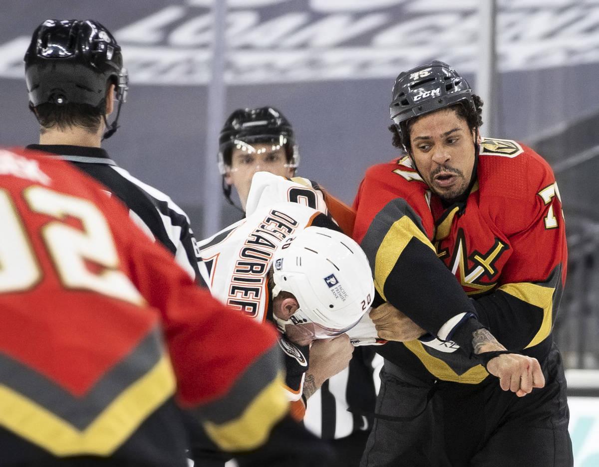 Vegas Golden Knights right wing Ryan Reaves (75) fights Anaheim Ducks left wing Nicolas Deslaur ...