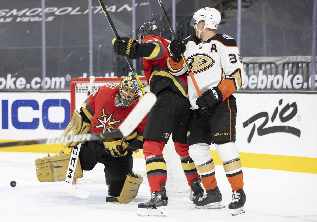 Vegas Golden Knights goaltender Marc-Andre Fleury (29) makes a save against Anaheim Ducks right ...