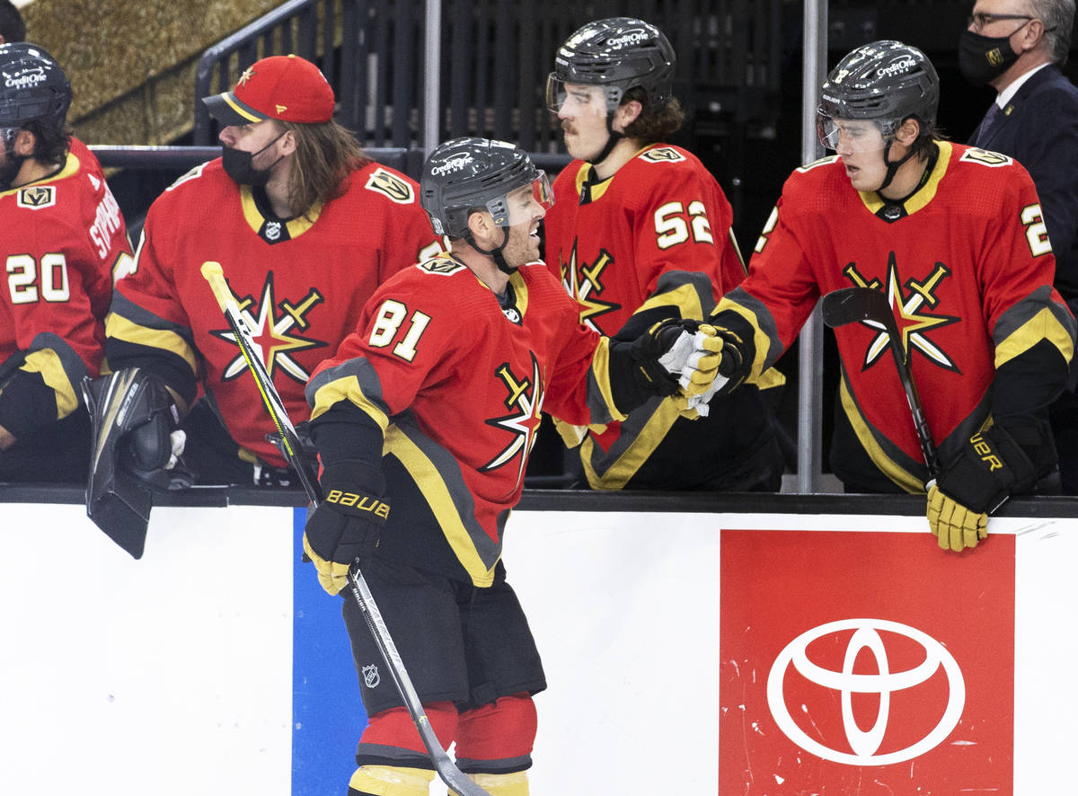 Vegas Golden Knights center Jonathan Marchessault (81) celebrates after scoring a goal in the f ...