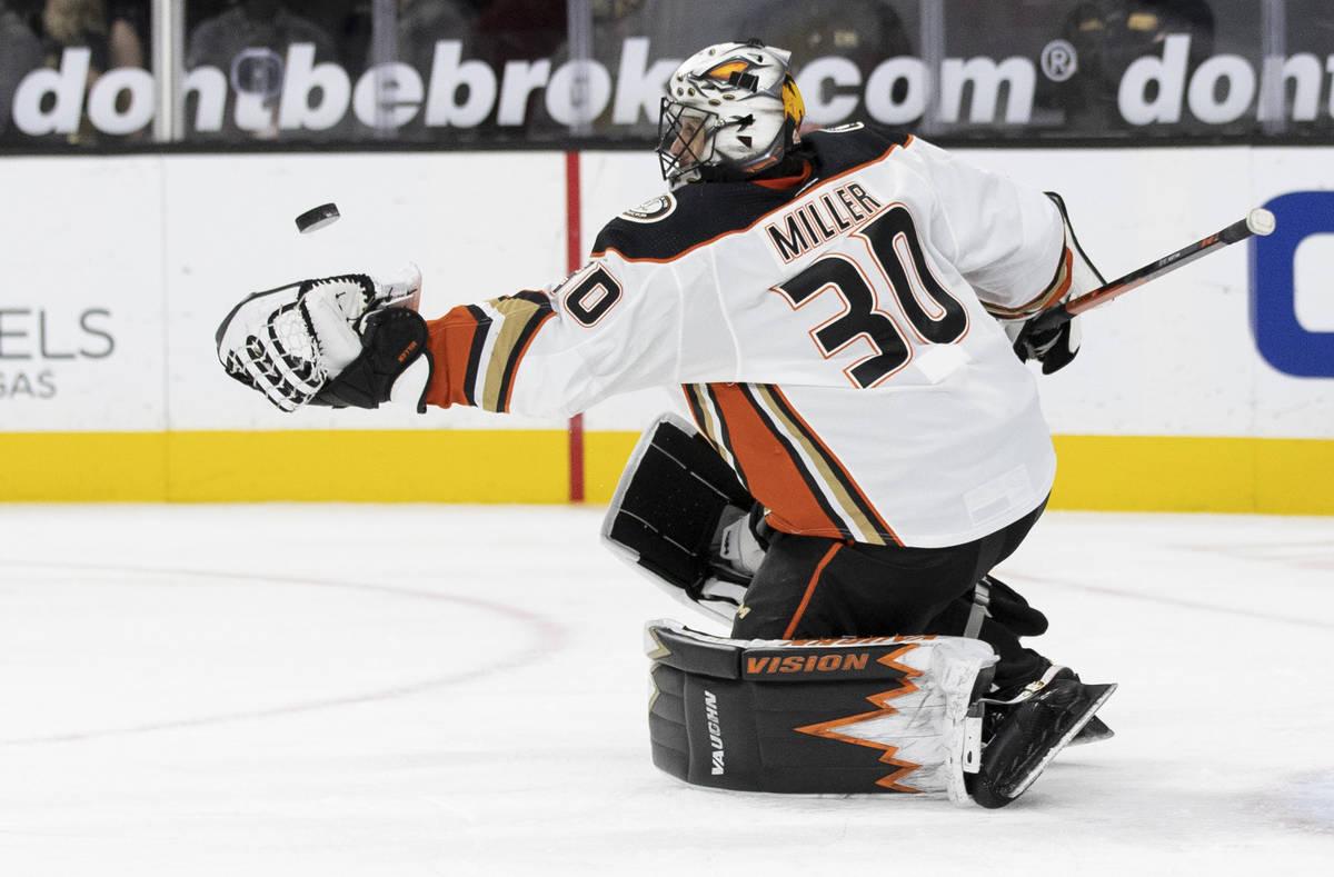 Anaheim Ducks goaltender Ryan Miller (30) makes a save in the second period during an NHL hocke ...