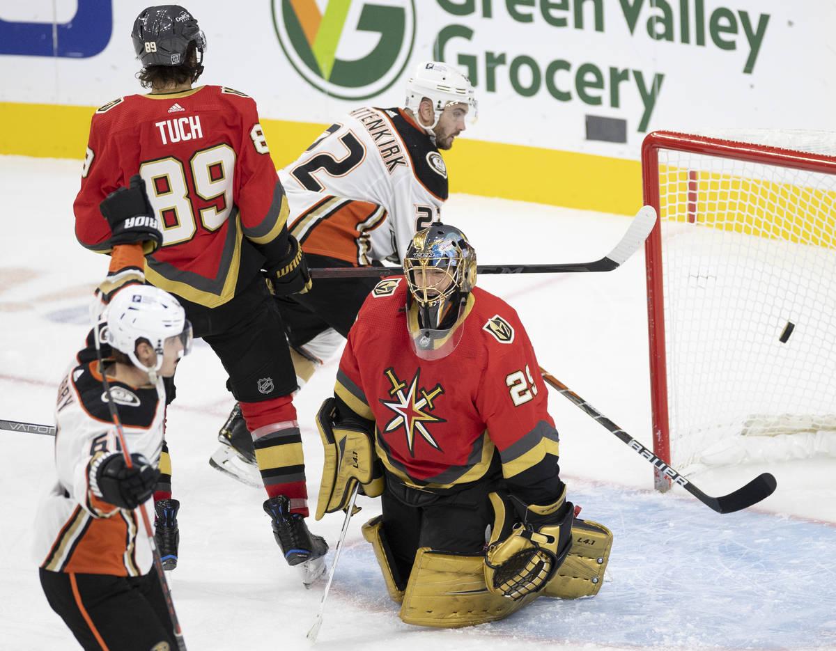 Anaheim Ducks center Troy Terry (61) scores a goal against Vegas Golden Knights goaltender Marc ...