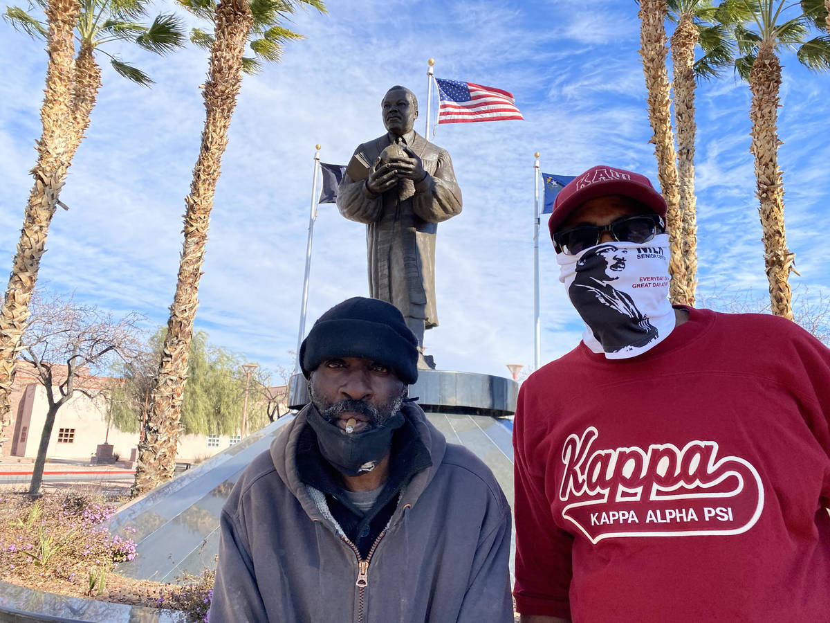 Homeless veteran Zakee Muhammad, 56, and Byron Goynes, director of the Martin Luther King Jr. S ...