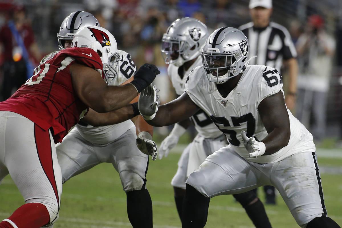 Oakland Raiders offensive guard Lester Cotton (67) during an an NFL preseason football game aga ...