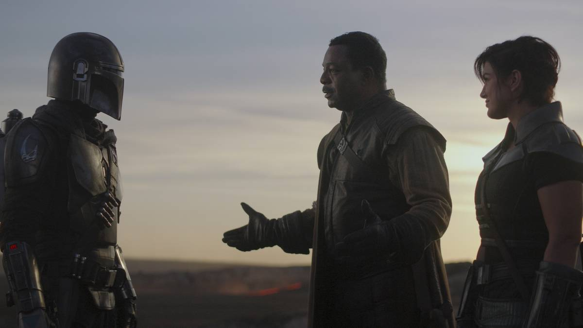 "From left, Pedro Pascal, Carl Weathers and Gina Carano appear in a scene from ""The Mandalorian. ..."