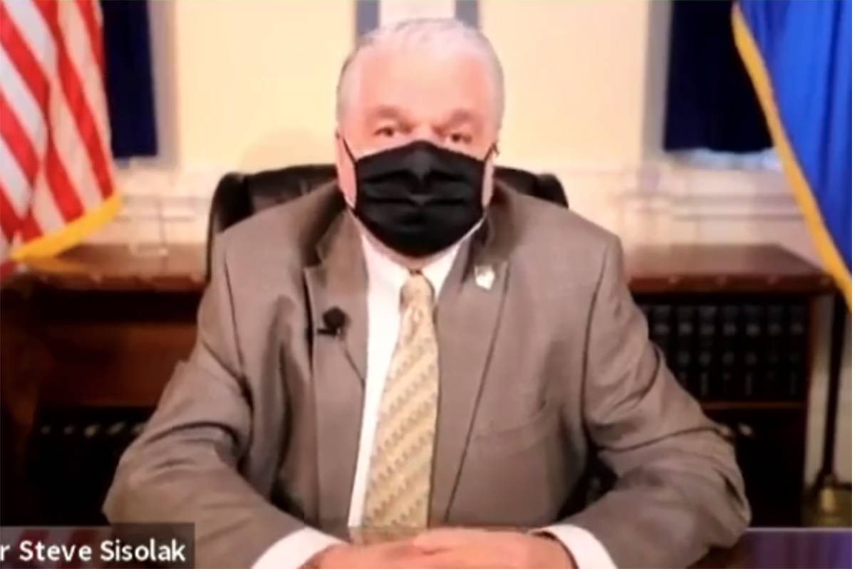 Gov. Steve Sisolak announces an ease in COVID-19 gathering restrictions during a news conferenc ...