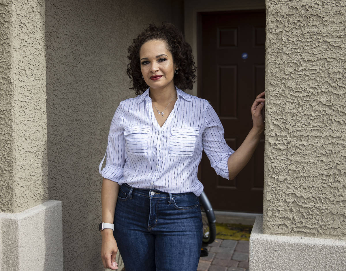 Tasha Rodriguez poses for a photo at her Las Vegas home, on Thursday, Feb. 11, 2021. Rodriguez ...