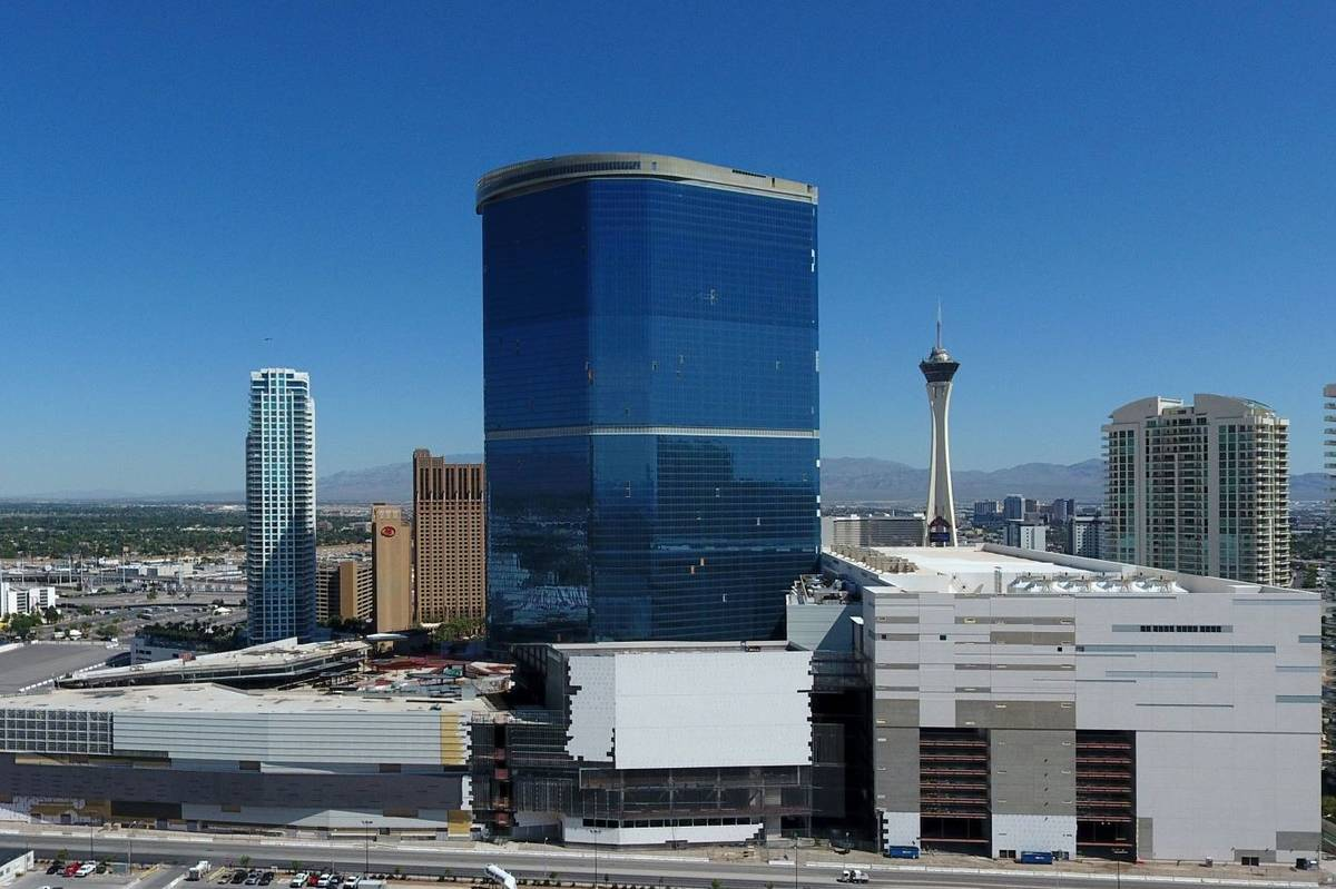 An aerial view of The Drew Las Vegas, formerly the Fontainebleau, seen in 2019. (Michael Quine/ ...