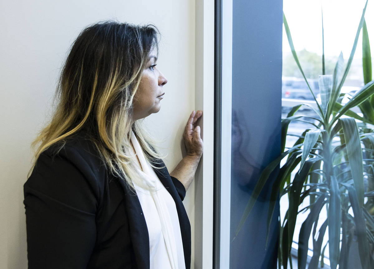 Maria Garcia poses for a photo at her attorney's office on Friday, Feb. 12, 2021, in Las Vegas. ...