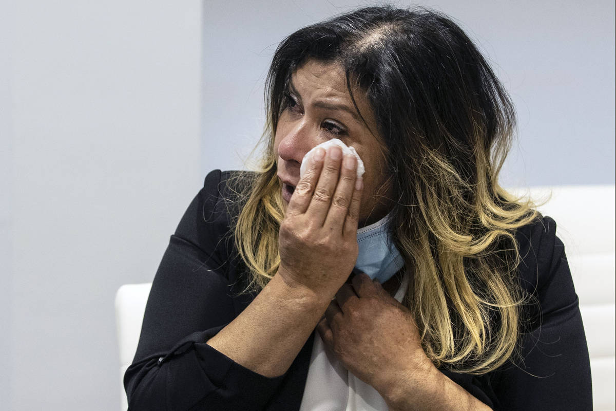 Maria Garcia weeps as she talks about her daughter at her attorney's office on Friday, Feb. 12, ...