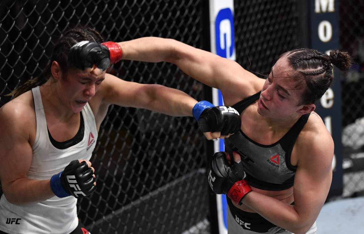 LAS VEGAS, NEVADA - FEBRUARY 13: (R-L) Maycee Barber punches Alexa Grasso of Mexico in their fl ...