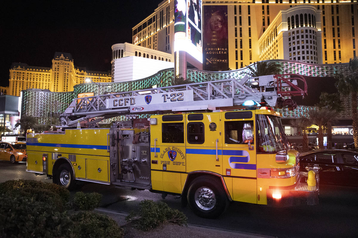 The Clark County Fire Department responds to a 2 alarm ңommercial fireӠat The Cosmo ...