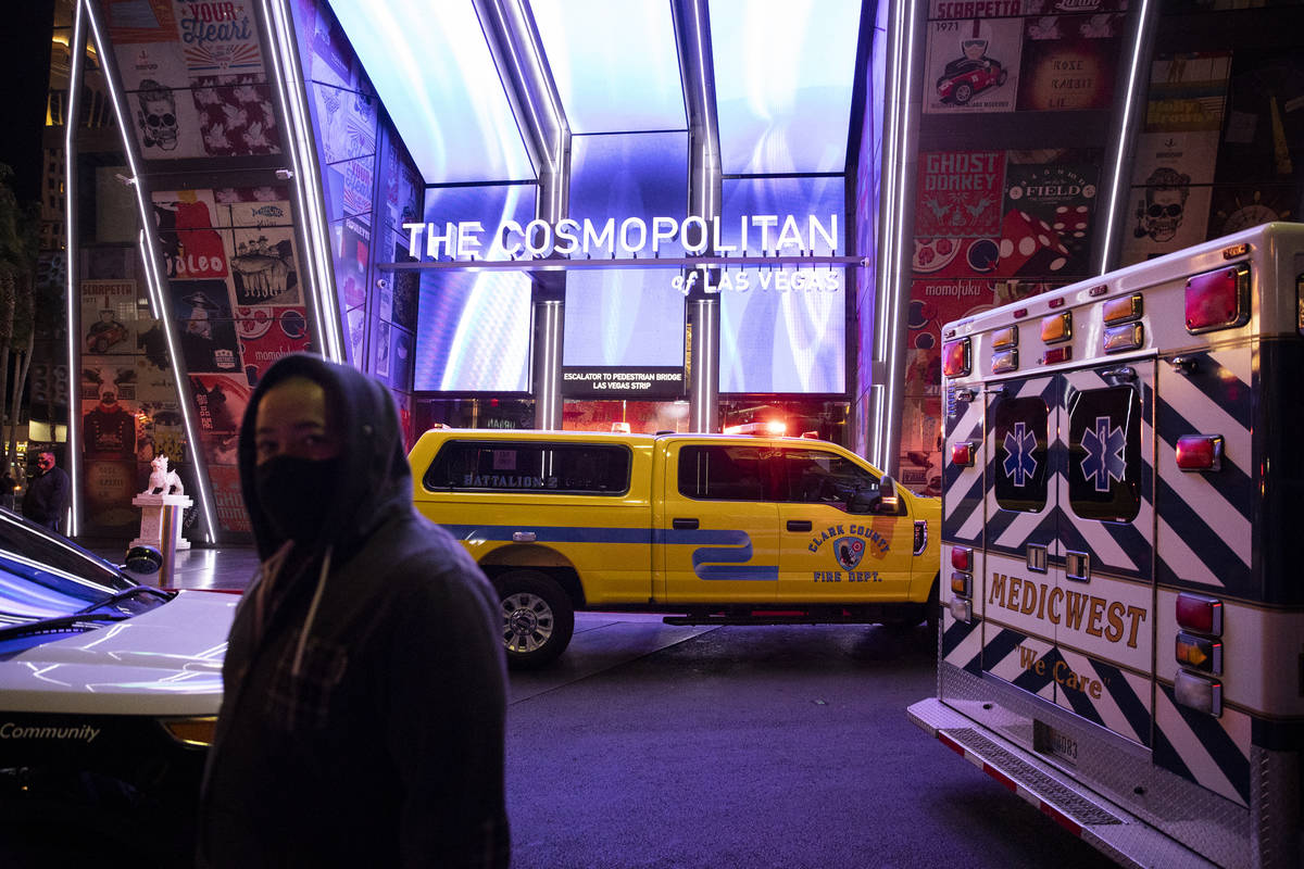 """Emergency crews respond to a 2 alarm """"commercial fire"""" at The Cosmopolitan hotel-casino in ..."""