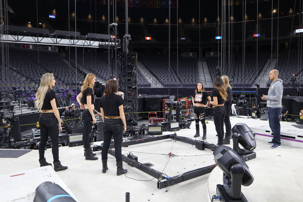 "Choreographer Anthony Cardella is shown with the cast of ""X Rocks"" at T-Mobile Arena prior to t ..."