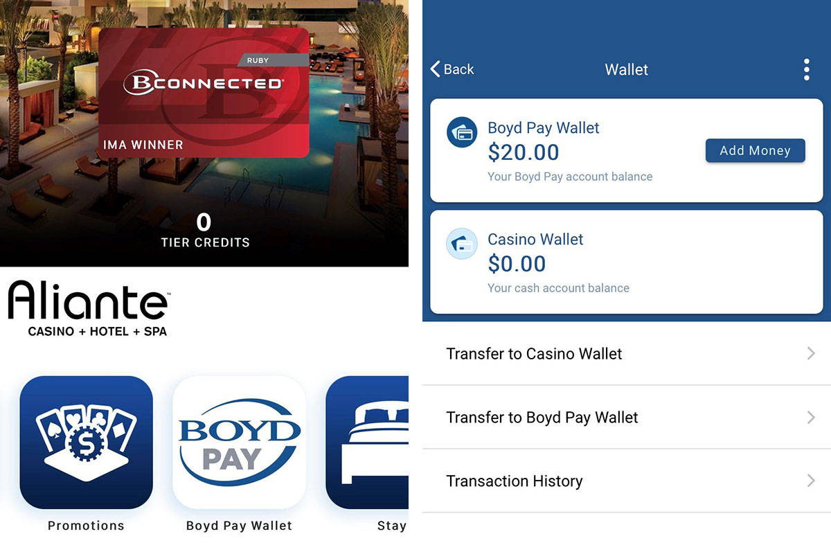 This screen shows how the the digital wallet is integrated into Boyd Gaming's B Connected Mobil ...