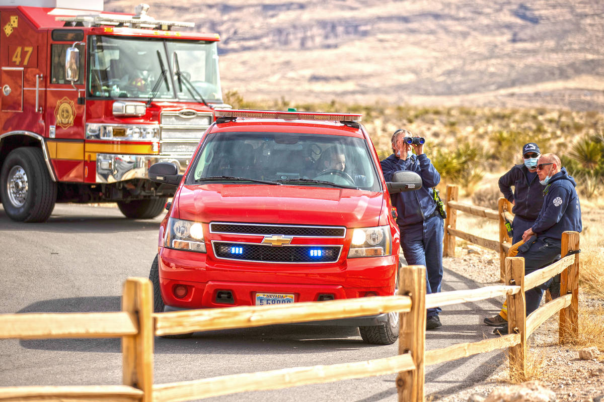 Las Vegas Fire & Rescue responds to the scene where a climber fell and seriously injured hi ...