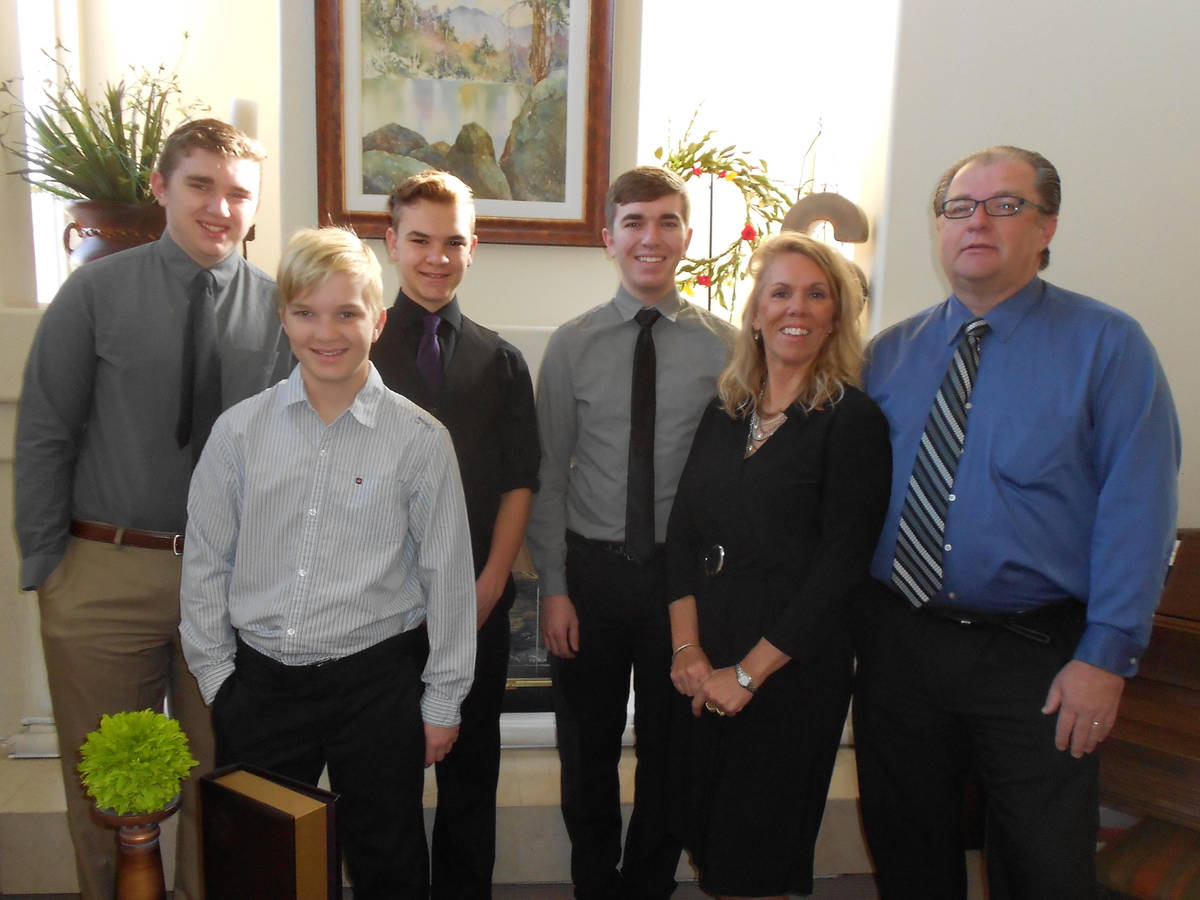 The Smith family, pictured from left to right, are Brayden, Brody, Brock, Bryce, Debbie and Sco ...
