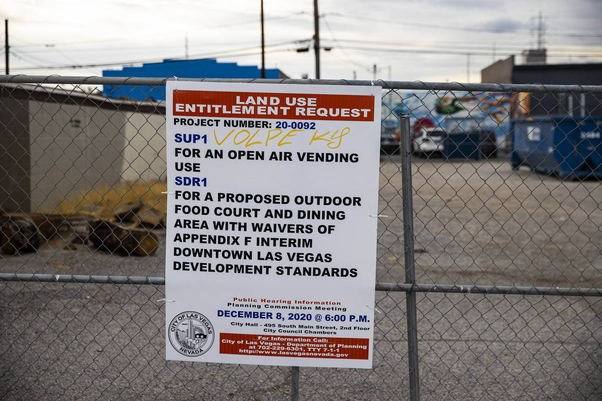 A view of the proposed food truck lot in the Arts District in downtown Las Vegas. (Chase Steven ...