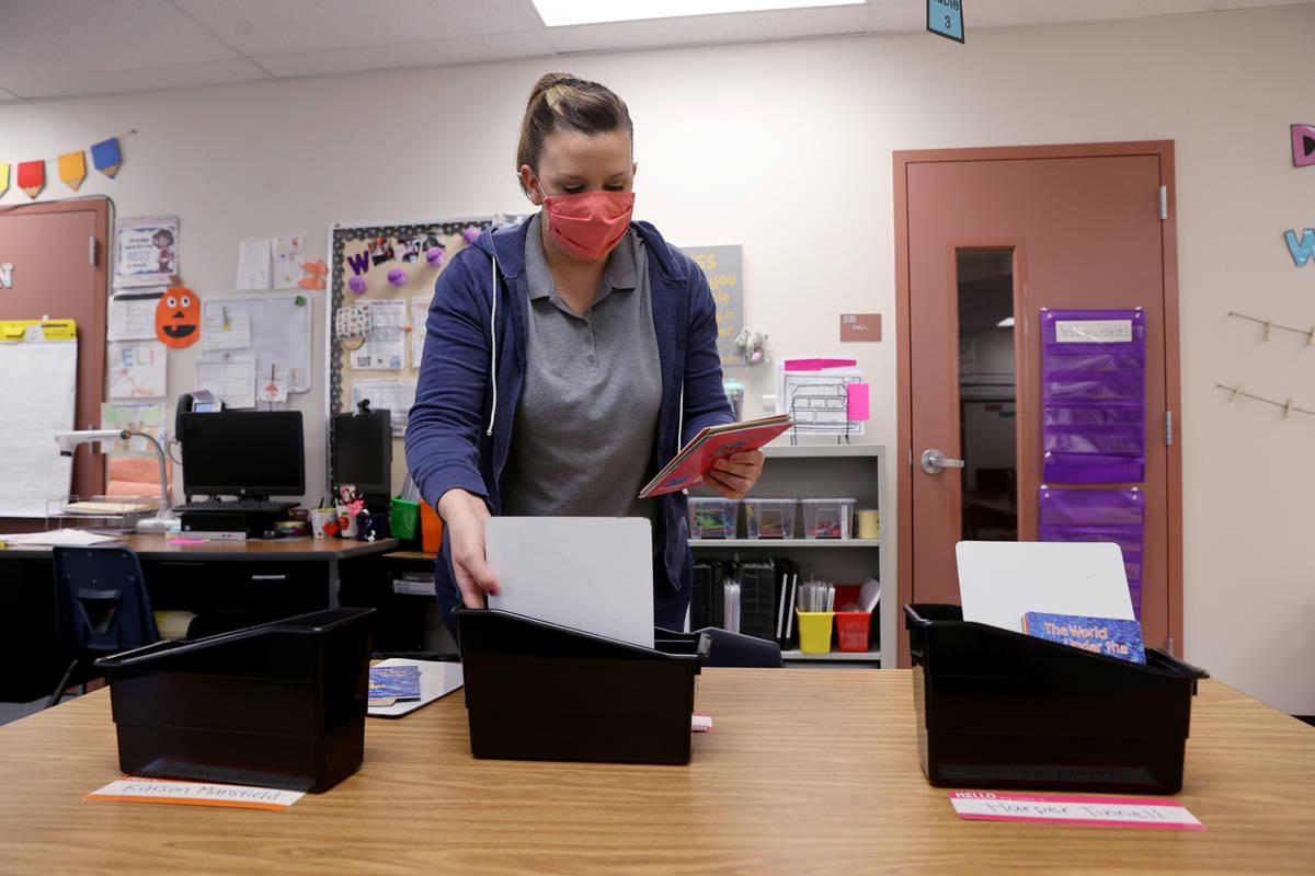 Kindergarten teacher Molly Wood prepares her classroom at McCaw STEAM Academy in Henderson Wedn ...