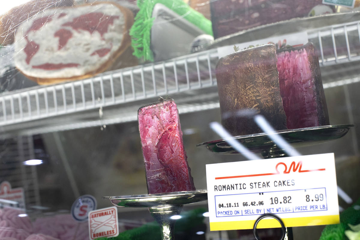 "In the meat market at the Omega Mart, ""romantic steak cakes"" are for sale at Area15 o ..."