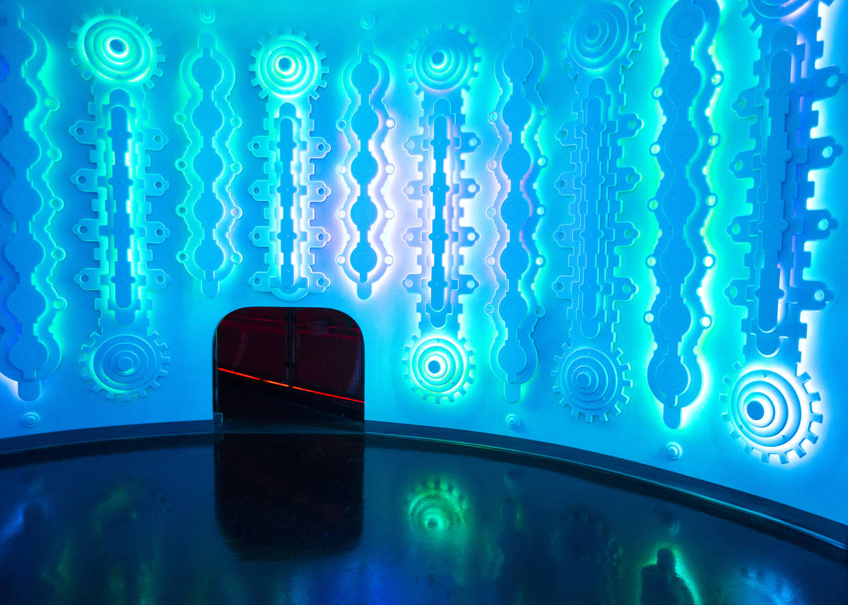 "A small tunnel leads into ""Juke Temple,"" an immersive room of light and sound based o ..."