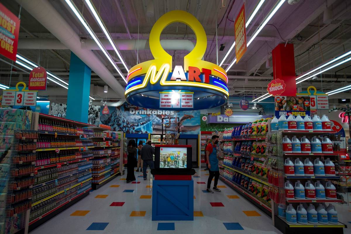 Opening day at the Omega Mart at Area15 on Thursday, Feb. 18, 2021, in Las Vegas. (Ellen Schmid ...