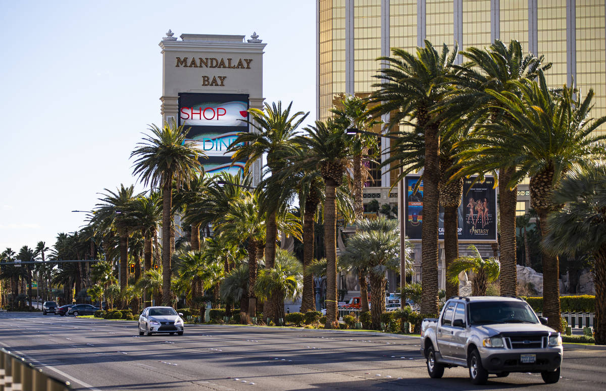 An exterior view of Mandalay Bay in Las Vegas on Wednesday, Feb. 17, 2021. (Chase Stevens/Las V ...