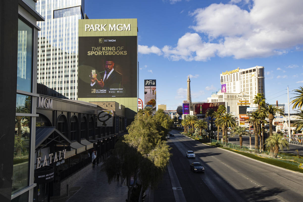 An exterior view of Park MGM in Las Vegas on Wednesday, Feb. 17, 2021. (Chase Stevens/Las Vegas ...