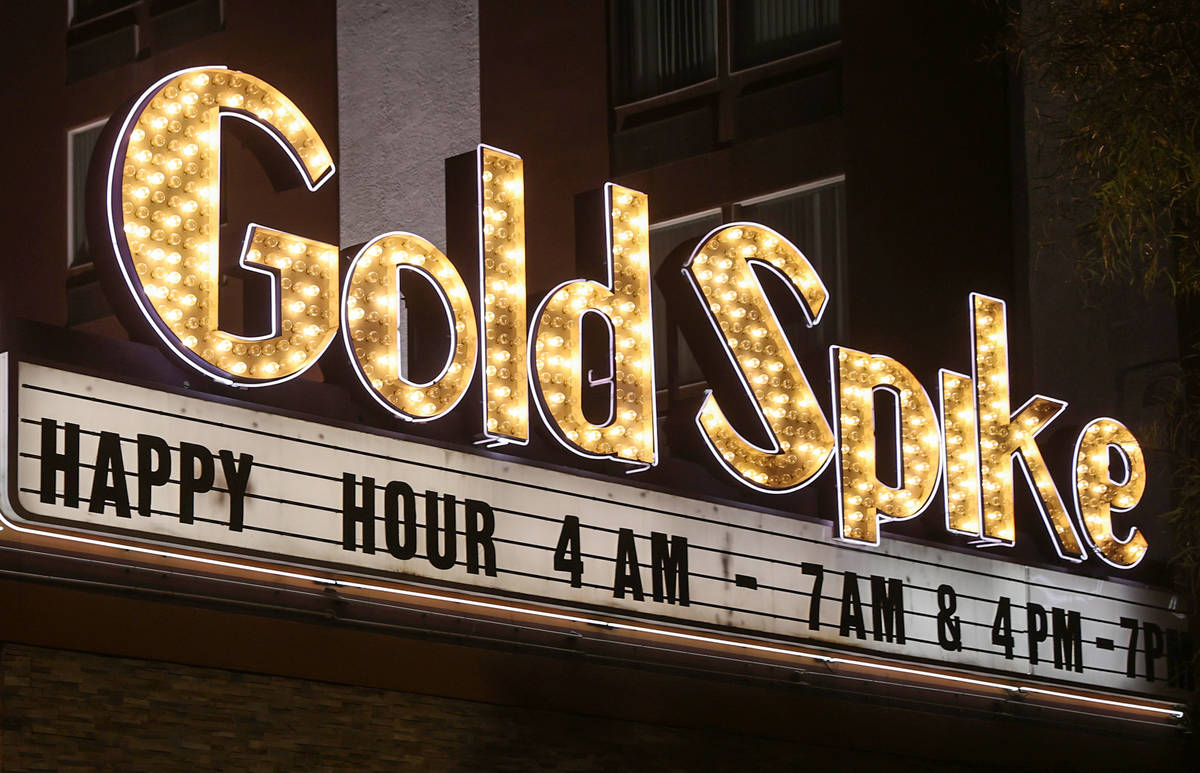 Gold Spike in downtown Las Vegas Wednesday, Feb. 17, 2021. The family of the late Tony Hsieh is ...