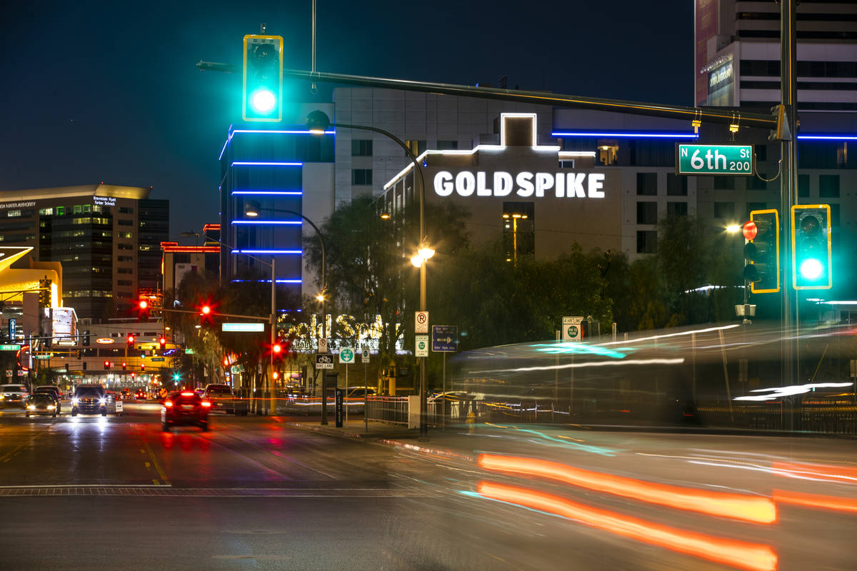 Gold Spike in downtown pictured on Tuesday, Dec. 1, 2020, in Las Vegas. (L.E. Baskow/Las Vegas ...