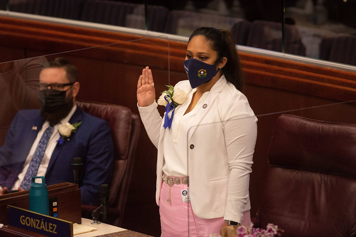 Assemblywoman Cecelia Gonzalez during the first day of the 81st session of the Nevada Legislatu ...