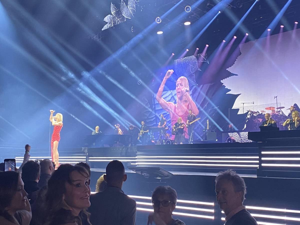 Celine Dion is shown performing at Bridgestone Arena in Nashville on Monday, Jan. 13, 2020. (Jo ...