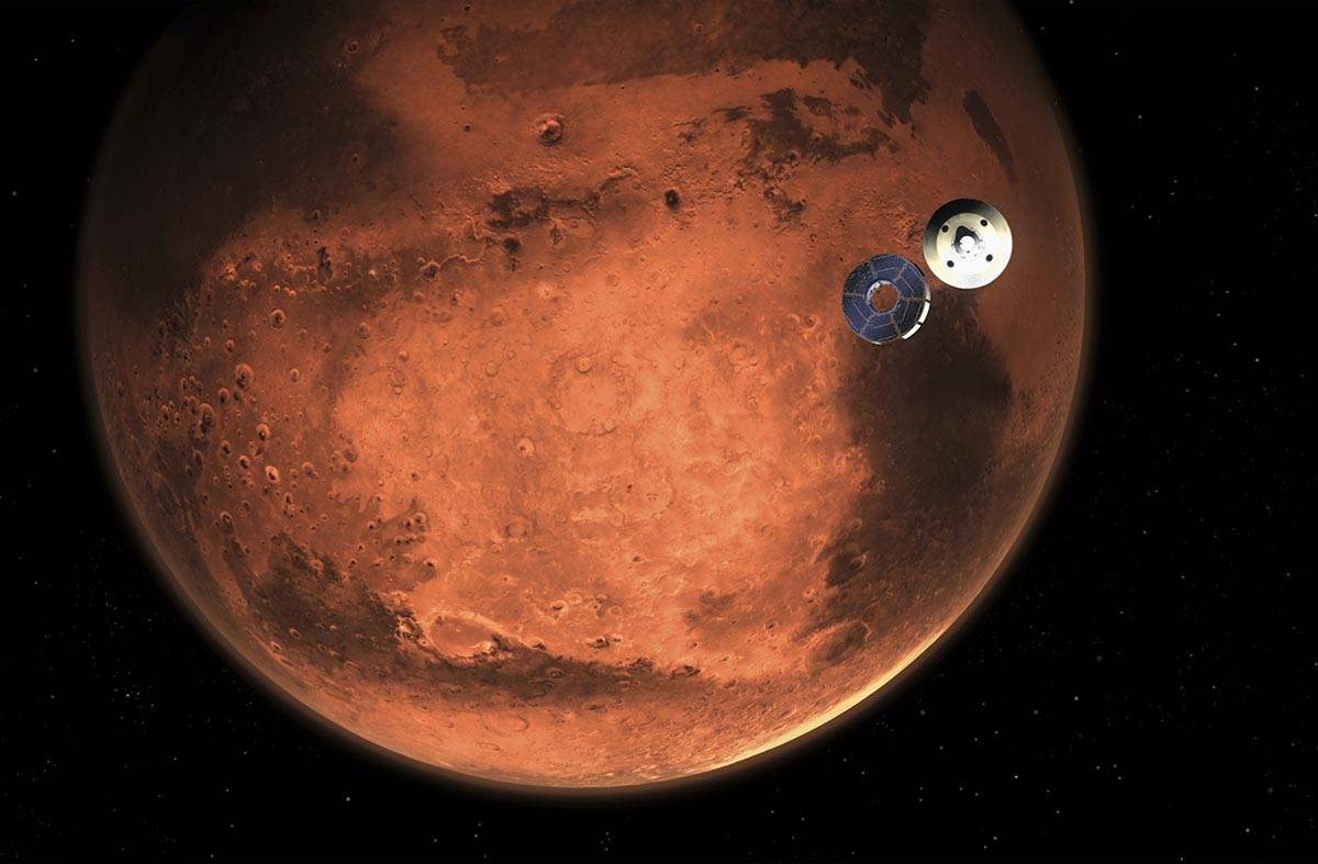 In this illustration made available by NASA, the Perseverance rover casts off its spacecraft's ...