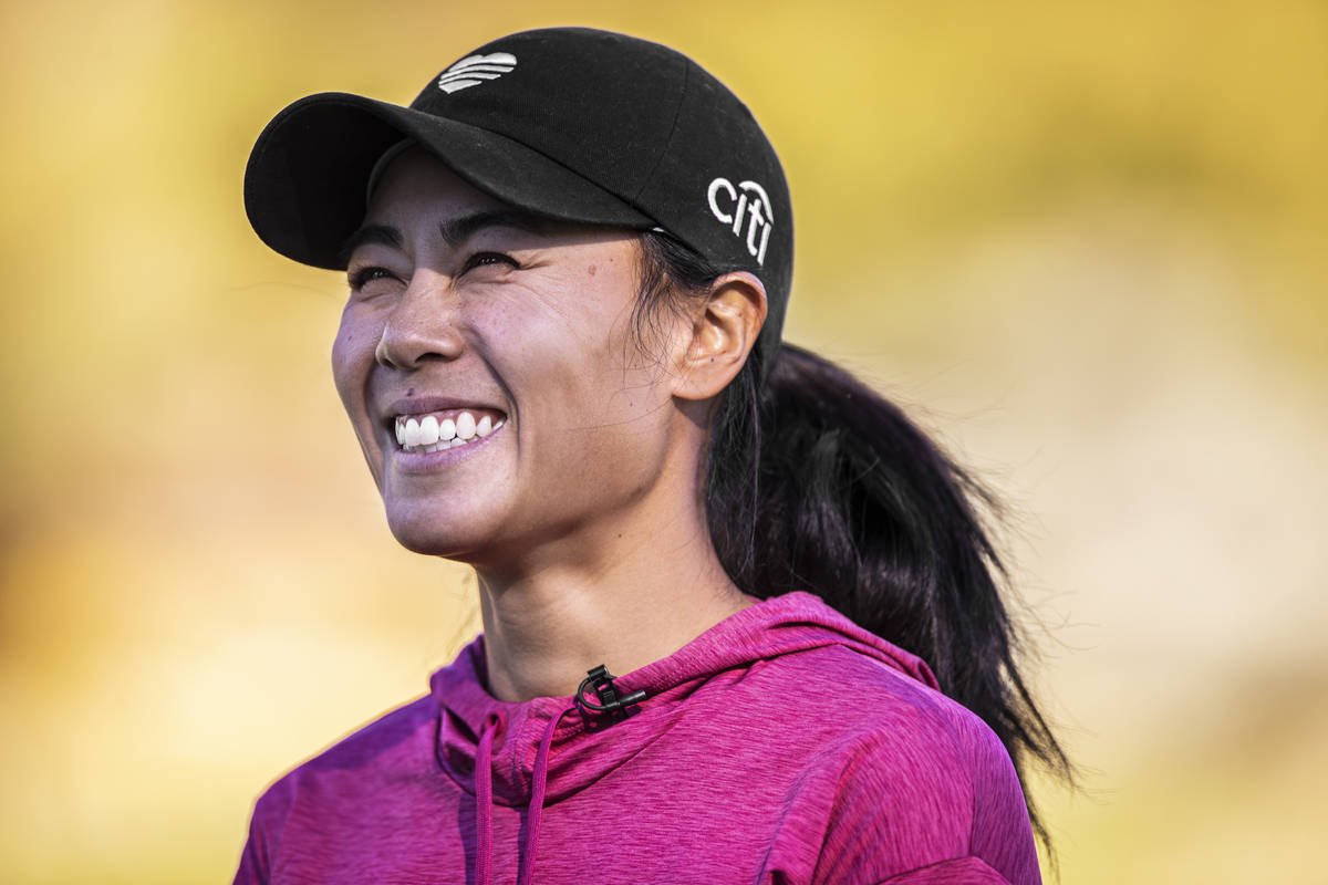 Las Vegas resident Danielle Kang, ranked in the top 5 on the LPGA tour, speaks with the media a ...
